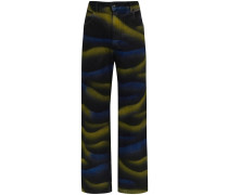 Weite Jeans mit Batik-Print