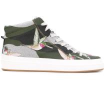 High-Top-Sneakers mit Kolibri-Print