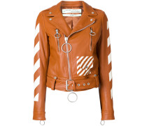 diagonals print biker jacket