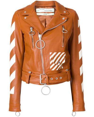 diagonals print biker jacket