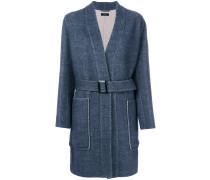 patch pocket belted coat