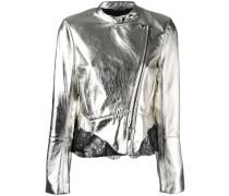 metallic biker jacket