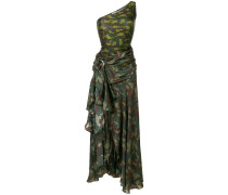 camouflage print one shoulder dress