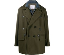 denim-yoke double breasted coat
