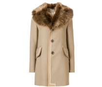 single breasted leather trim coat with fur collar