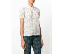 polka-dot bow blouse