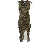 animal print silk tie wrap dress