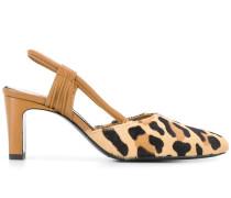 Slingback-Sandalen mit Leoparden-Print