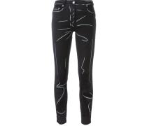 Jeans mit Trompe-l'œil-Motiv