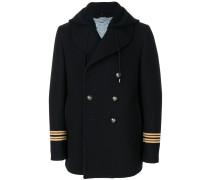 stripe cuff hooded coat