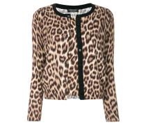leopard knit cardigan style sweater
