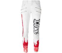 'Flame' Skinny-Jeans mit Print