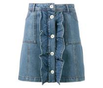 Jeans-Minirock mit gerüschtem Einsatz - women