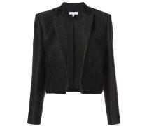 metallic threaded cropped blazer
