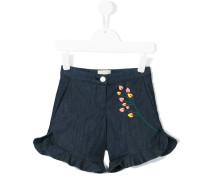 Jeans-Shorts mit floraler Verzierung
