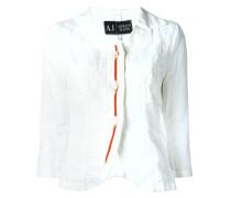 Bluse mit oranger Knopfleiste