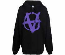 Anarchy drawstring jersey hoodie