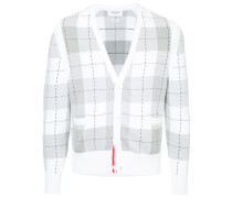 Classic V-Neck Cardigan With Large Plaid Intarsia In Cotton Crepe