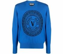 Intarsien-Pullover mit V-Emblem