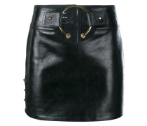 Leather Mini Skirt with Gold Ring