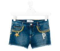 chain embroidery denim shorts - kids