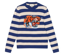 Striped wool sweater with tiger head