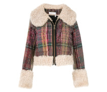 shearling trim checked jacket