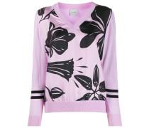 floral-print v-neck jumper