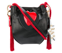 heart appliqué shoulder bag with rope tassel strap