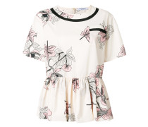 floral flared blouse