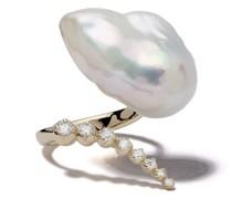 14kt Gelbgoldring mit Perle und Diamanten