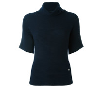 roll neck ribbed blouse