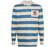 rose patch striped polo shirt