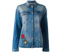 Jeansjacke mit aufgestickten Rosen - women