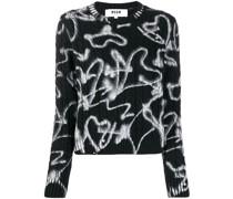 Gestrickter Pullover mit Print