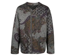 paisley-intarsia knitted cardigan
