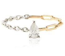 18kt Gelb- und Weißgoldring mit einem Diamanten