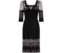 lace-panel square-neck dress