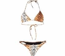 Scrunchie Bikini mit Tiger-Print