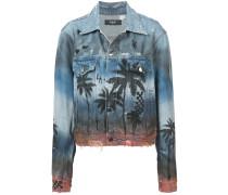 palm print distressed denim jacket