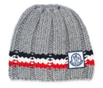 logo striped beanie hat