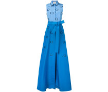 embroidered faille shirt gown