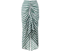 checked gathered front skirt