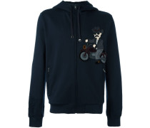 cowboy patch zipped hoodie