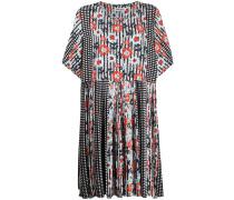 Geblümtes Kleid mit Karomuster