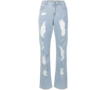 distressed boot-cut jeans