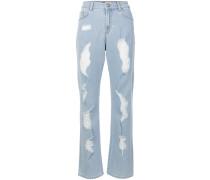 Boot-Cut-Jeans in Distressed-Optik