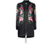 floral embroidered long bomber jacket