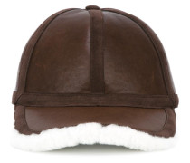 leather and shearling baseball cap