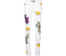 floral appliqué distressed slim fit jeans